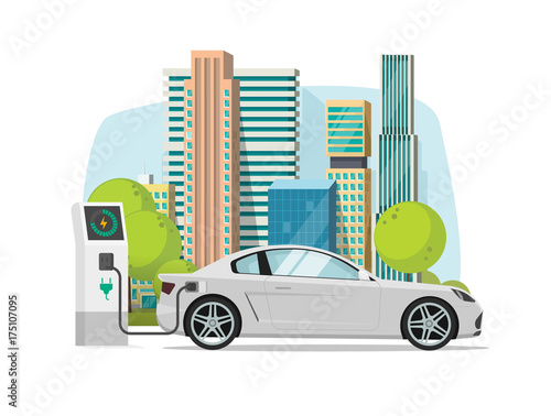 Staande foto Cartoon cars Electric car charging from charger station near city vector illustration, concept of eco city with modern automobile, flat cartoon style