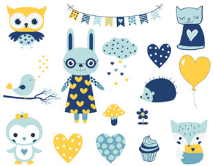 Set of cute vector characters for baby boy showers, birthdays and party designs. Fun animals and elements in flat style in blue and yellow colors.