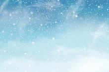 Winter Christmas Sky With Falling Snow. Snowflakes, Snowfall. Vector Illustration.
