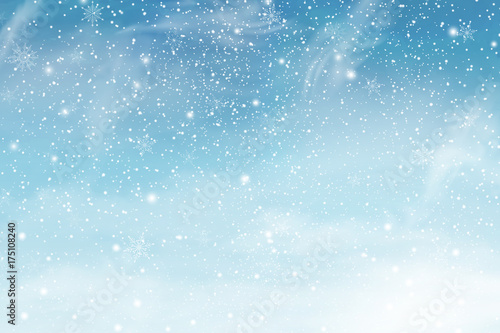Cuadros en Lienzo Winter christmas sky with falling snow