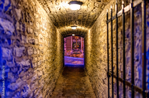 Fotografía  Lower old town with cobblestone street narrow alley Passage De La Batterie with