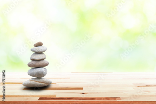 Garden Poster Zen zen stones on wooden in the garden. Concept relaxation, zen, spring, spa.