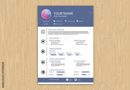 Resume Set with Purple Header and Footer Layout 1. Buy this stock ...