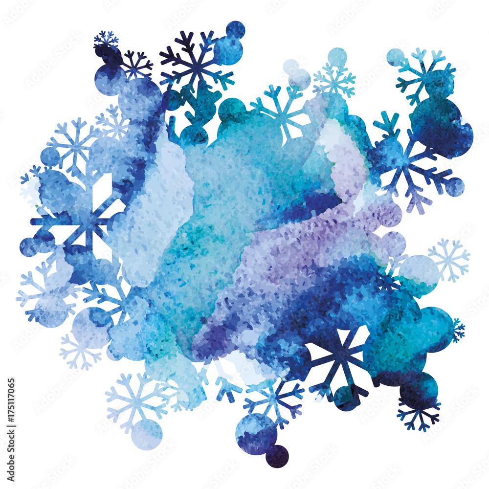 Bukiet śniegu, ręcznie malowane tła, fioletowy i niebieski obraz akwarela, streszczenie sztuki projektowania wektorowego <span>plik: #175117065 | autor: panimoni</span>