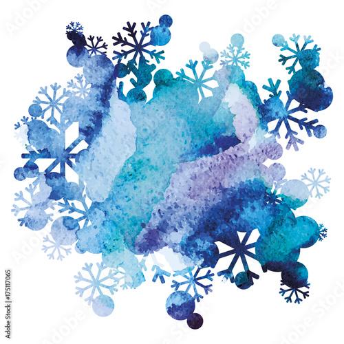 Bukiet śniegu, ręcznie malowane tła, fioletowy i niebieski obraz akwarela, streszczenie sztuki projektowania wektorowego