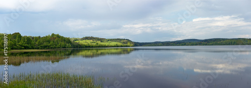 Obraz na plátně Panoramic view of Lake Ladoga in Karelia