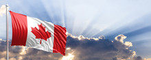Canada Flag On Blue Sky. 3d Illustration