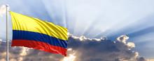 Colombia Flag On Blue Sky. 3d Illustration