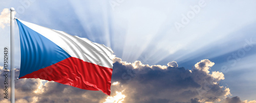 Photo  Czech Republic flag on blue sky. 3d illustration