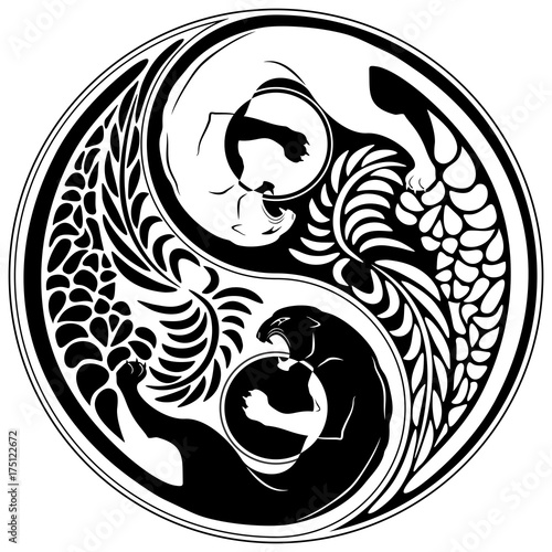 Spoed Foto op Canvas Draw Yin Yang Wild Cat Black and White Tattoo Style