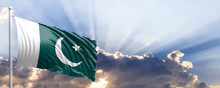 Pakistan Flag On Blue Sky. 3d Illustration