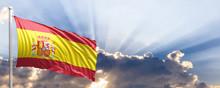 Spain Flag On Blue Sky. 3d Illustration