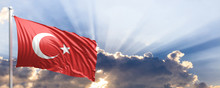 Turkey Flag On Blue Sky. 3d Il...