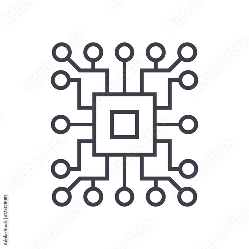 Computer Sciencecircuit Vector Line Icon Sign Illustration On White Background Editable