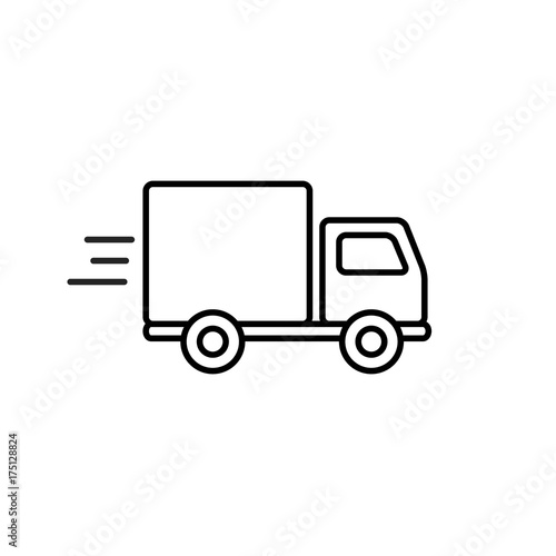 Fotografía  Fast shipping delivery truck outline icon in flat style