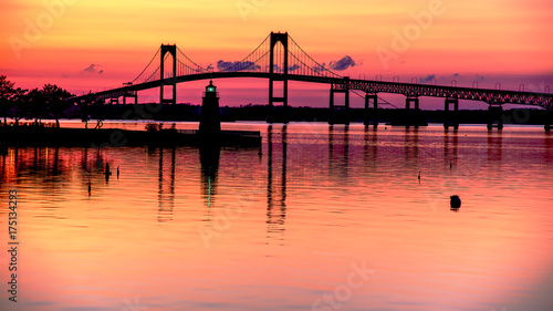 Photo Stands Coral Pell Bridge at Sunset