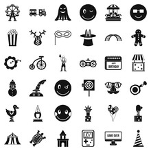 Funny Icons Set, Simple Style