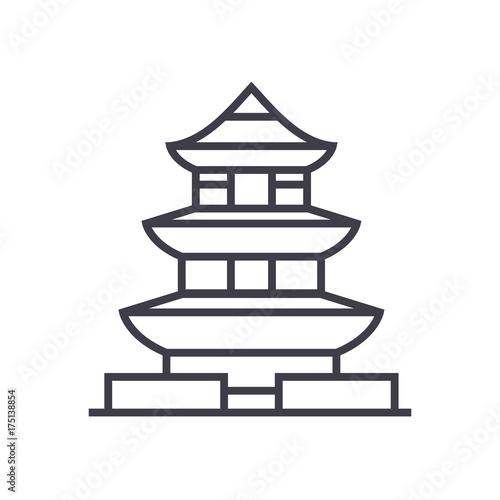 pagoda,japan vector line icon, sign, illustration on white background, editable Fototapeta