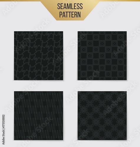 Fototapeta Abstract concept vector monochrome geometric pattern. Dark blue, gold minimal background. Creative illustration template. Seamless stylish texture. For wallpaper, surface, web design, textile, decor. obraz na płótnie