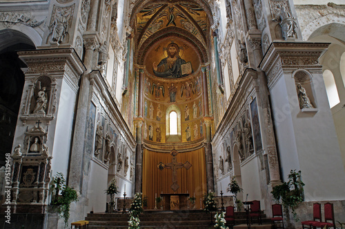 Interior of Cefalu Cathedral with mosaic of Christ Pantokrator in the apse, Sici Wallpaper Mural