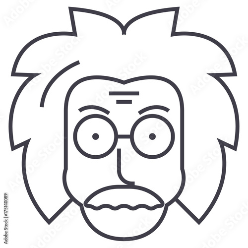 Photo  professor,einstein,scientist,freak vector line icon, sign, illustration on white