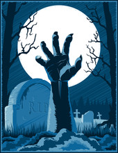 Hand Of Zombie Corpse With Claws Raised Up From Grave On A Cemetery On Halloween Holiday On A Background From Trees And Moon At Night. Vector Hand Drawing Graphic Illustration.