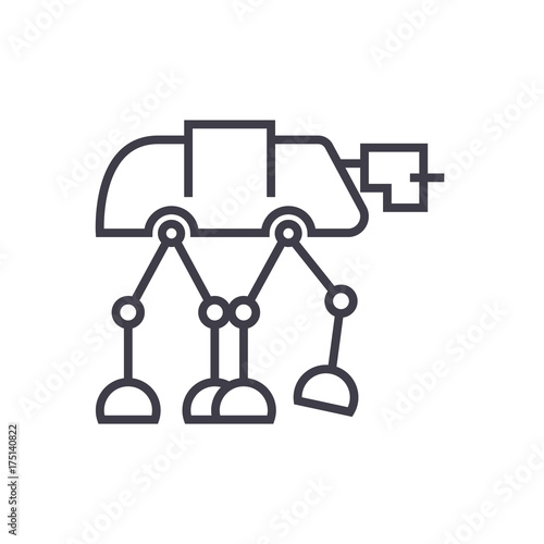 Photo robot warior, armored transport  vector line icon, sign, illustration on white b