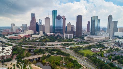 Photo Stands Kuala Lumpur Aerial view of skyline downtown Houston building city, at buffalo bayou park, Houston, Texas, USA