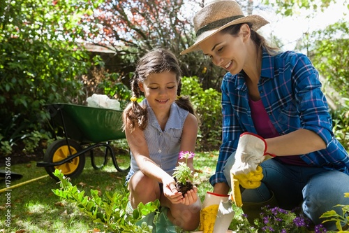 Fotografie, Tablou Smiling mother teaching daughter to plant seedlings