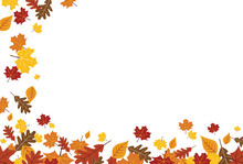 Bright Falling Fall Autumn Leaves Horizontal Border 1