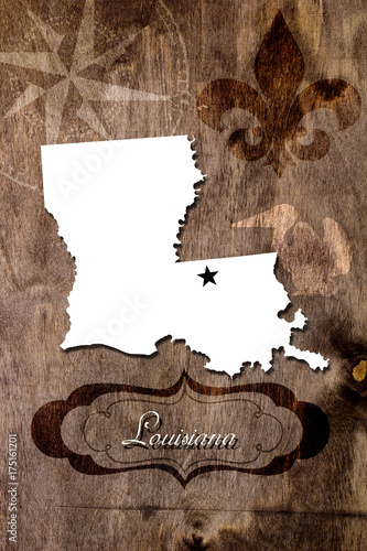 Photo Poster Louisiana state map outline
