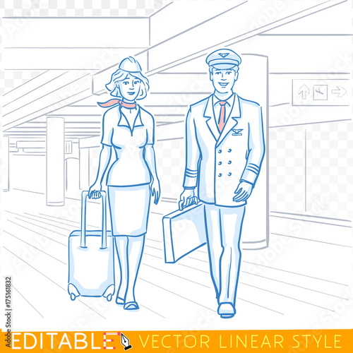 Fotografie, Obraz  Pilot and stewardess