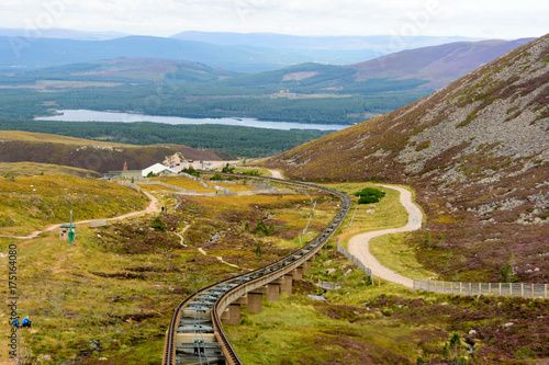Photo Funicular train tracks in Cairngorm national park