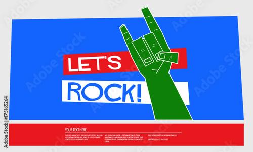 Fototapety, obrazy: Let's Rock (Vector Illustration Poster Design)