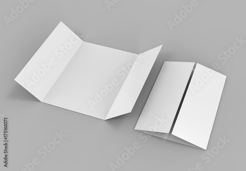Single open gate fold brochure, 3 panel and six pages