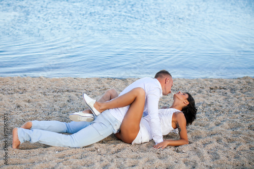 Foto op Aluminium Ontspanning Couple in love. Sensual couple. Greece. Caribben. Passionate concept. Love story. Holiday.