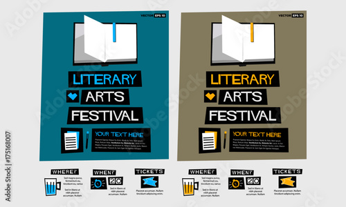 Literary Arts Festival (Flat Style Vector Illustration Quote Poster Design) Even Tapéta, Fotótapéta