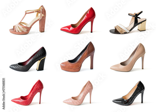 High Different Heels Shoes Of White Background Isolated On Collage dshtQCr