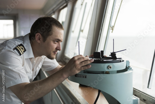 Senior Navigation Officer on bridge