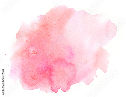Abstract pink watercolor background texture on white, hand painted on paper Canvas-taulu