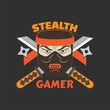 Stealth gamer logo with ninja and swords and ninja asterisks. Gaming profile avatar.