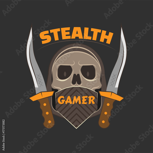 Obraz na plátně  Stealth gamer logo with a skull under face mask and hood and a dirk on both sides