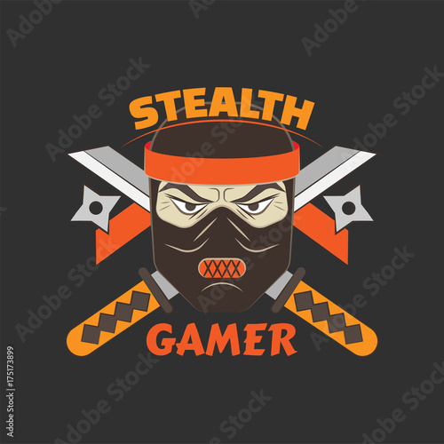 Stealth gamer logo with ninja and swords and ninja asterisks Wallpaper Mural
