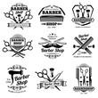 Vintage barbershop vector emblems and labels. Barber badges and logos