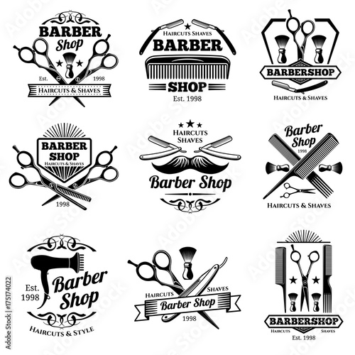 Vintage barbershop vector emblems and labels. Barber badges and logos
