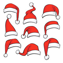 Santa Red Hats With White Fur. Isolated Christmas Holiday Vector Decoration