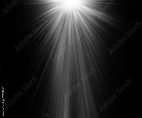 Fotografía abstract beautiful rays of light on black background.