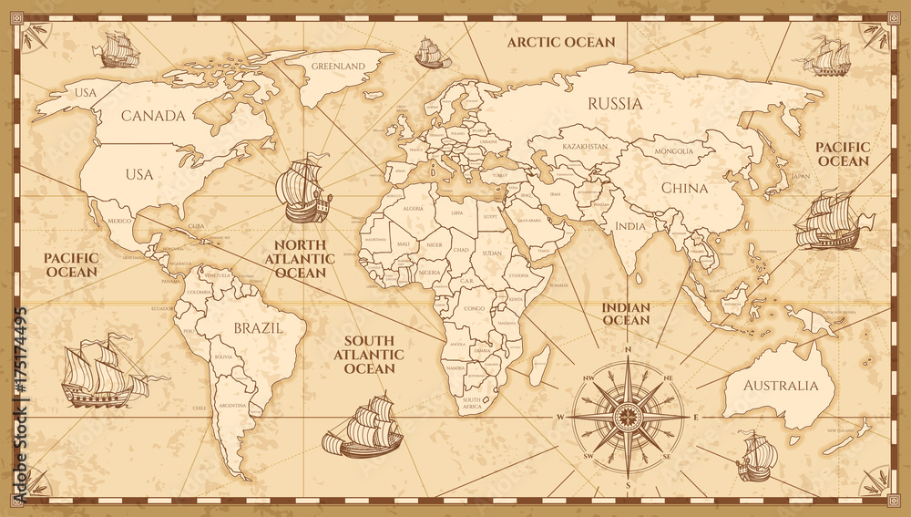 Fototapety, obrazy: Vector antique world map with countries boundaries