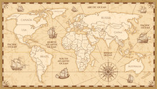 Vector Antique World Map With ...