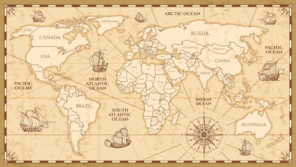 Vector antique world map with countries boundaries